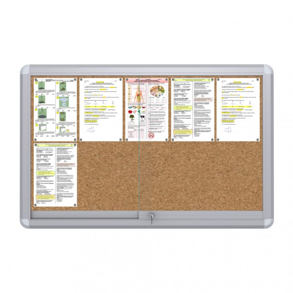 Sliding Doors Noticeboard – 10xDIN A4  (Cork)
