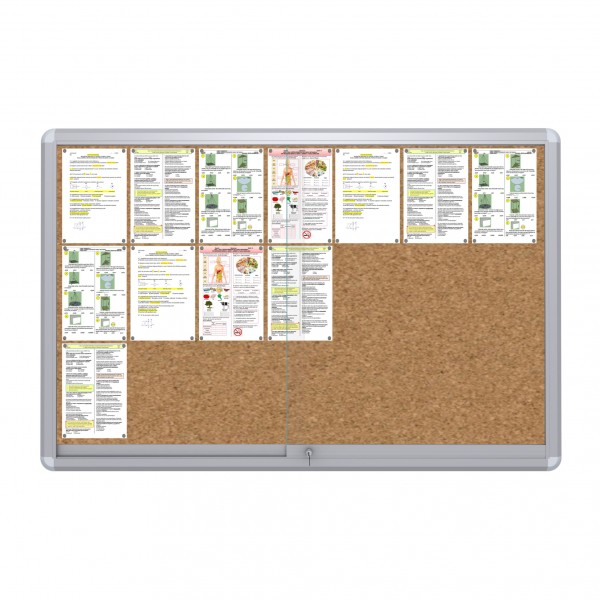 Sliding Doors Noticeboard – 21xDIN A4  (Cork)