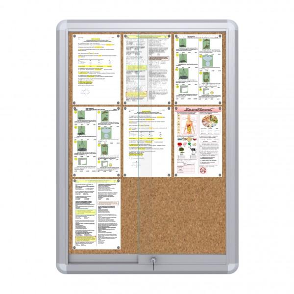 Sliding Doors Noticeboard – 9xDIN A4  (Cork)