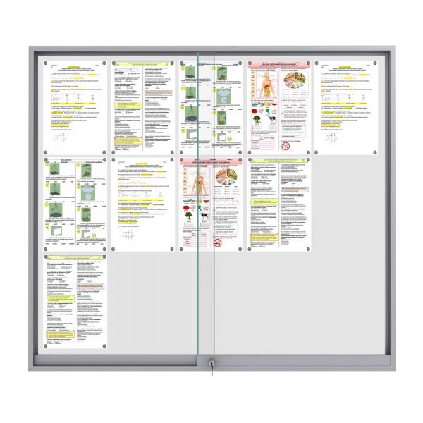 Midi Sliding Doors Noticeboard – 15xDIN A4 (Mitred Corner)